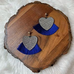 Navy Blue Heart Fringe Tassel Earrings